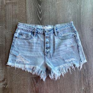 Vici Heather Hi Rise Cut Off Denim Shorts